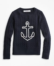 Brooks Brothers Girls Cable-Knit Cotton Anchor Swe