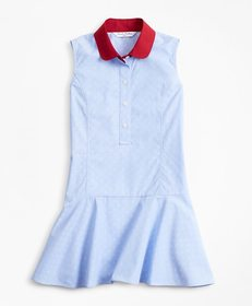 Brooks Brothers Girls Cotton Jacquard Anchor Dress