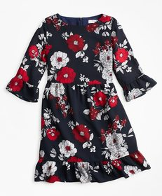 Brooks Brothers Girls Floral Ruffle Dress