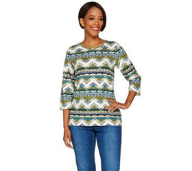 Denim & Co. 3/4 Sleeve Southwestern Printed Top -