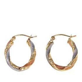Michael Anthony Jewelry® 10K Tri-Color Oval Hoop E