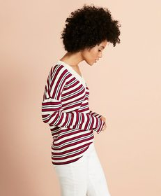 Brooks Brothers Striped V-Neck Oversized Sweater