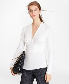 Brooks Brothers Ruched Jersey Faux Wrap Top