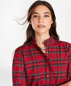 Brooks Brothers Shimmer Plaid Flannel Ruffled Blou