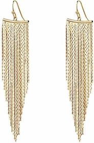 Kenneth Jay Lane Polished Gold Fringe Earrings