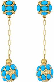 Kenneth Jay Lane Gold Chain/Turquoise Cabs Top/Dro