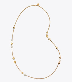 Tory Burch CAPPED CRYSTAL PEARL CHAIN ROSARY