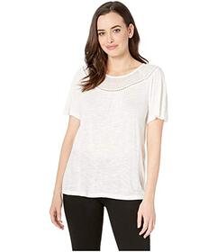 Lucky Brand Mix Short Sleeve Top with Embroidery