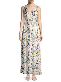 Lucky Brand Tie-Waist Floral Maxi Dress NATURAL MU