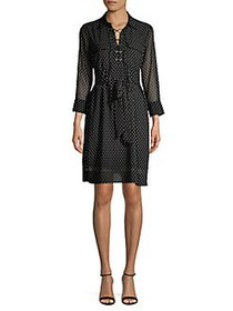 T Tahari Polka-Dot Lace-Up Shirt Dress BLACK WHITE