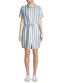 Blank NYC Striped Linen Drawstring Shirt Dress EAS
