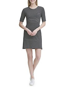 Calvin Klein Striped T-Shirt Dress BLACK WHITE