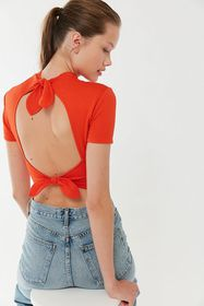 UO Audrey Mock Neck Tie-Back Cropped Top