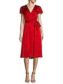 Alice + Olivia Aria Faux-Wrap Dress RUBY RED