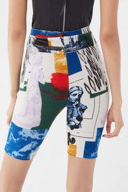 UO When In Rome Printed Ribbed Bike Short