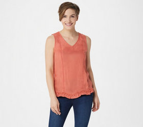 Du Jour Sleeveless Woven Tank with Pom-Pom Detail
