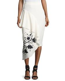 Peter Pilotto Leaf-Embroidered High-Waist Cady Ski