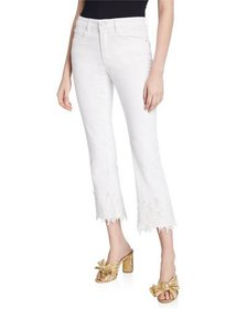 Philosophy Lace Applique Cropped Jeans
