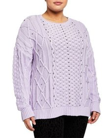 MICHAEL Michael Kors Embellished Cable-Knit Sweate