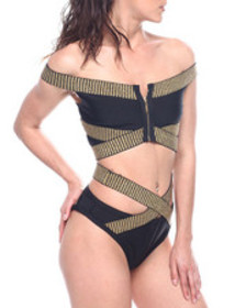 Wow Couture criss cross off shoulder zip front two