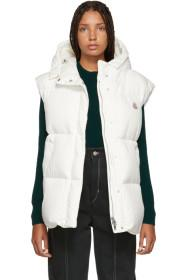 Moncler White Down Cheveche Hooded Vest