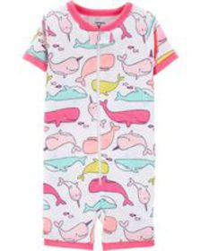 carters Baby Girl 1-Piece Whale Snug Fit Cotton Sl
