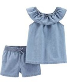 carters Baby Girl 2-Piece Scoop Neck Chambray Top