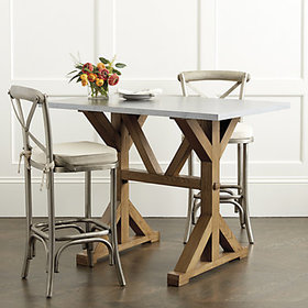 Tatum Trestle Counter Table with Zinc Top