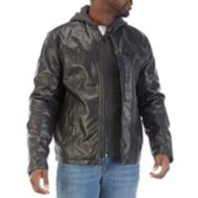 LEVI'S Mens Levi's Hooded Faux Leather Jacket