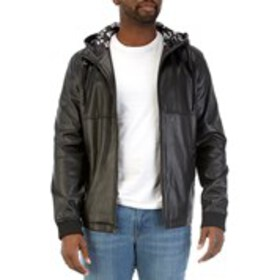 LEVI'S Mens Hooded Faux Leather Jacket