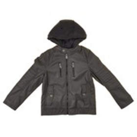 URBAN REPUBLIC Boys Hooded Moto Stitch Faux Leathe