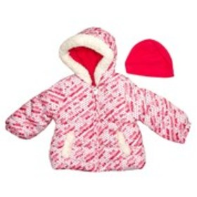 LONDON FOG Baby Girls Fleece Lined Puffer with Fau