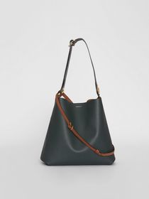 Burberry The Leather Grommet Detail Bag in Dark Em