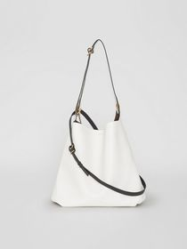 Burberry The Leather Grommet Detail Bag in Chalk W