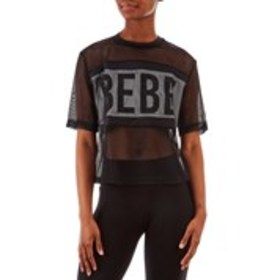BEBE SPORT Black Mesh Logo Print Active Top