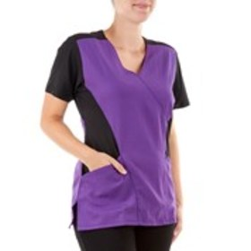 Scrub Top With Knit Side Panels