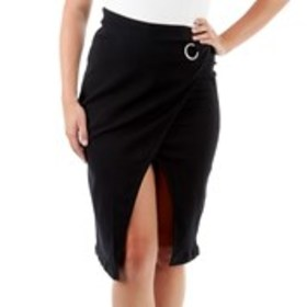 D JEANS Wrap Midi Skirt with O-Ring Accent
