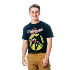Young Mens Spiderman Short Sleeve Crew Neck Graphi