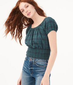 Aeropostale Plaid Smocked Crop Top