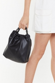 Nasty Gal Womens Black WANT Bead It Faux Leather S