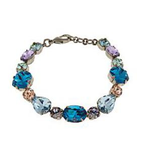 "Sorrelli Jewelry Blue and Multi Crystal 7"" Link Br"
