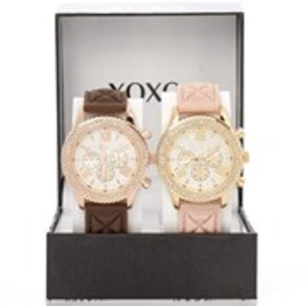 XOXO Womens Crystal Bezel Quilted Silicone Watch 2