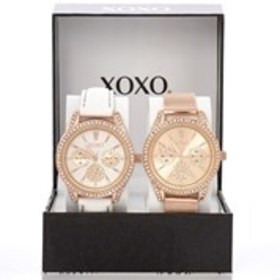 XOXO Womens Crystal Rose Gold Chronograph Watch 2-