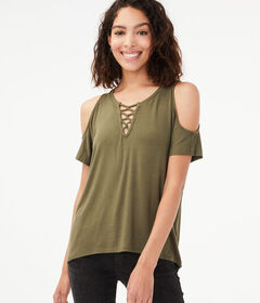 Aeropostale Seriously Soft Cold-Shoulder Lace-Up T