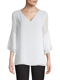 Calvin Klein Chiffon Tiered Sleeve Blouse WHITE