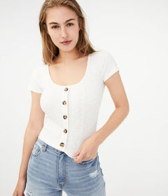 Aeropostale Seriously Soft Rib Button-Front Top