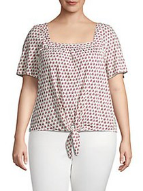 Lucky Brand Plus Printed Tie-Front Top PINK MULTI
