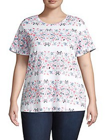 Lucky Brand Plus Floral Short Sleeve T-Shirt PINK