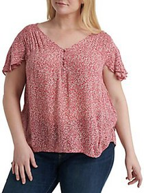 Lucky Brand Plus Printed Flutter Sleeve Blouse PIN