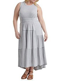 Lucky Brand Plus Ruched Maxi Dress GREY STRIPE